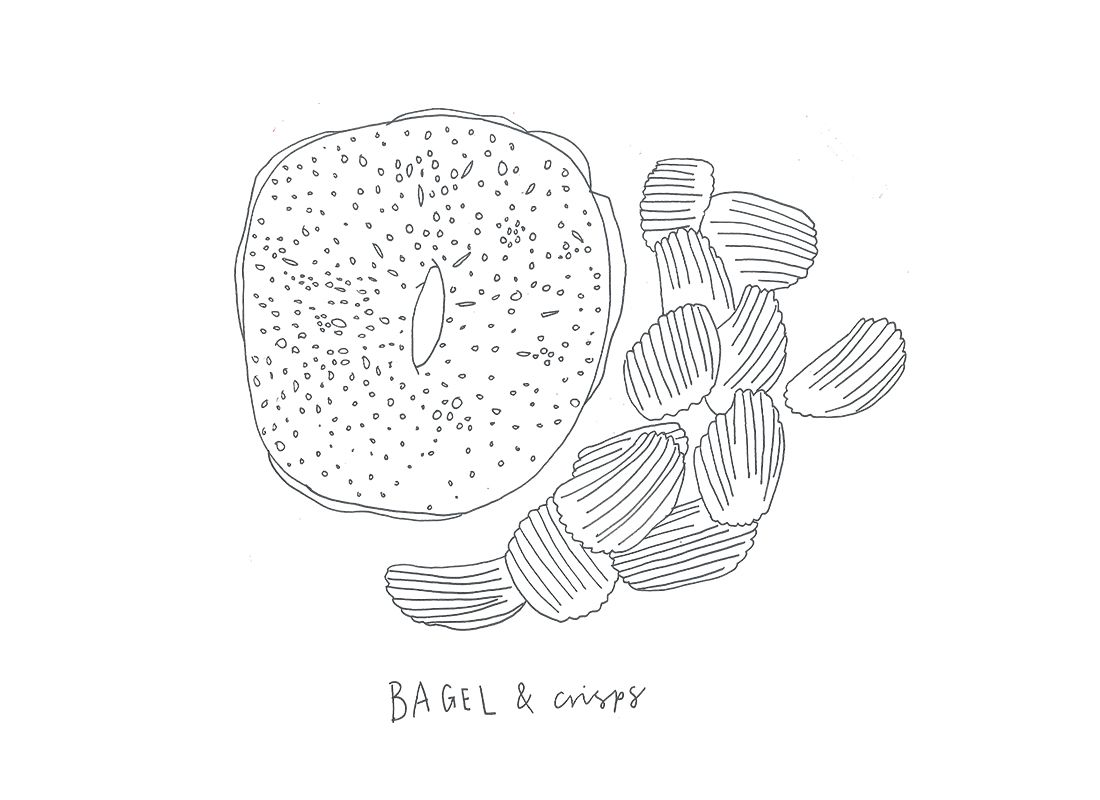 illustration of crisps and a bagel