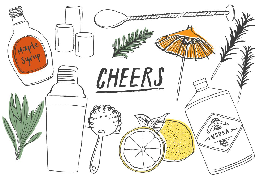 illustrations of festive cocktail making