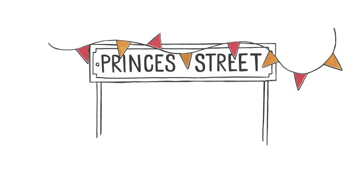 illustration of princes street sign and bunting