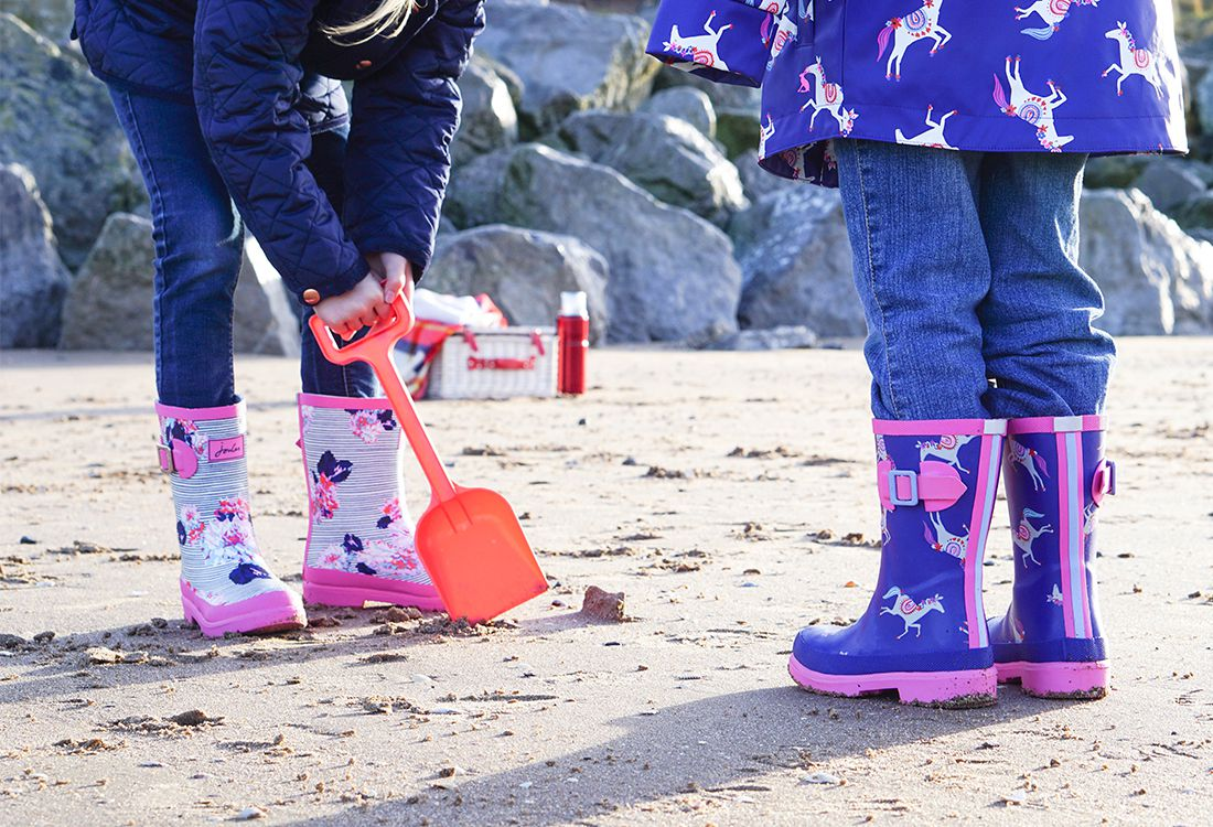 girls printed horse wellies and rainwear