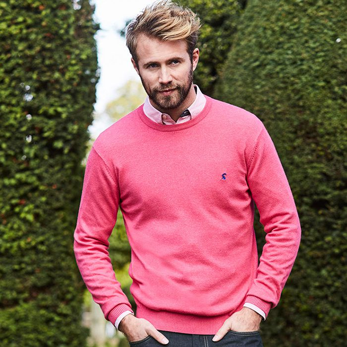 man modeling pink crew neck jumper in gardens