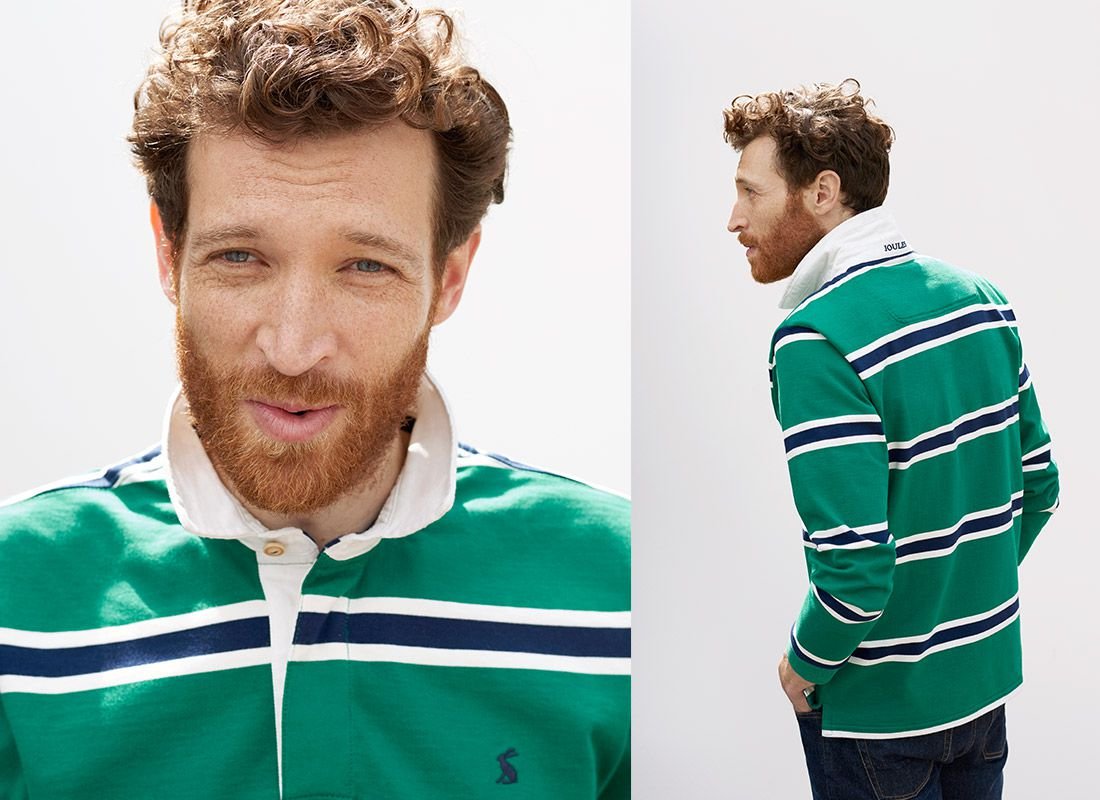 man models joules striped rugby shirts