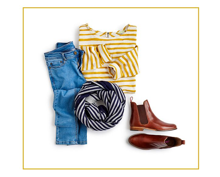 joules styled skinny jeans outfitting with chelsea boots and striped breton top