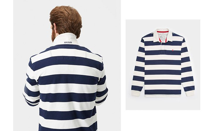 man models joules navy striped rugby shirt