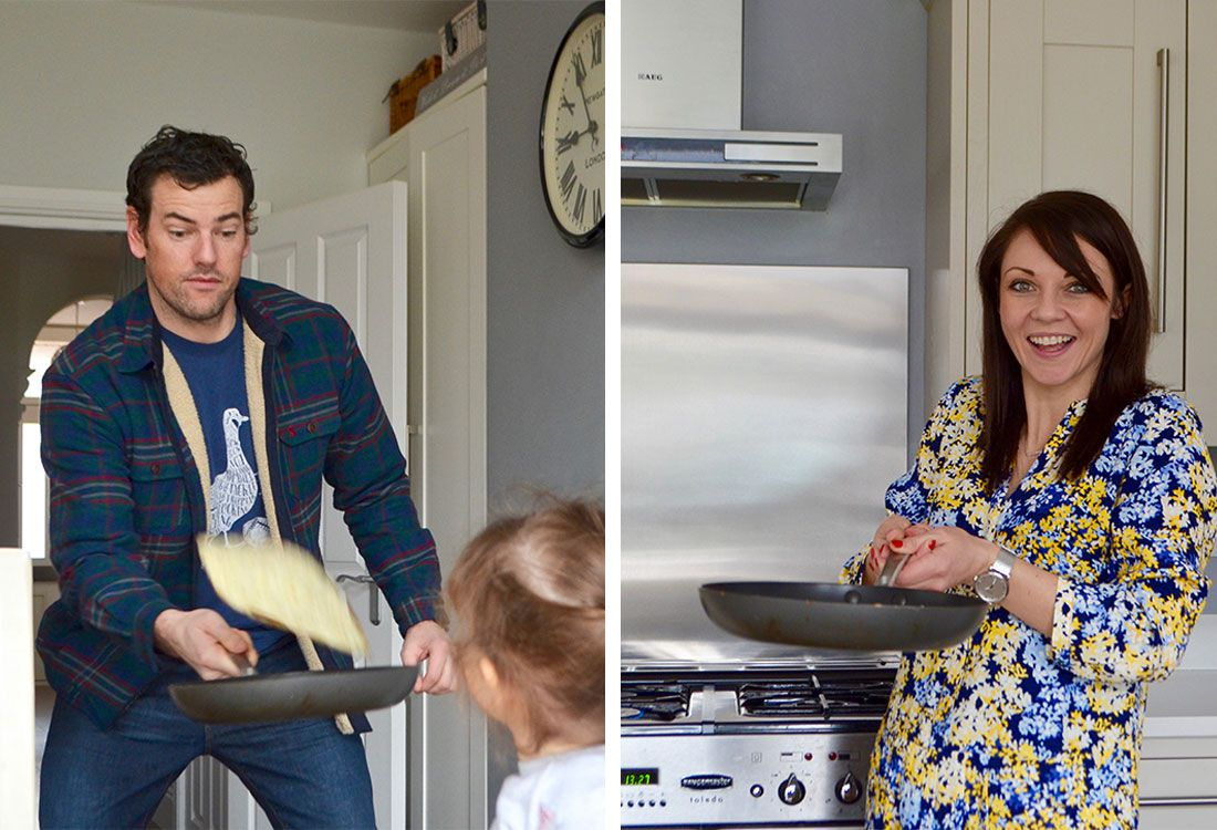 mother and father flip pancakes on pancake day