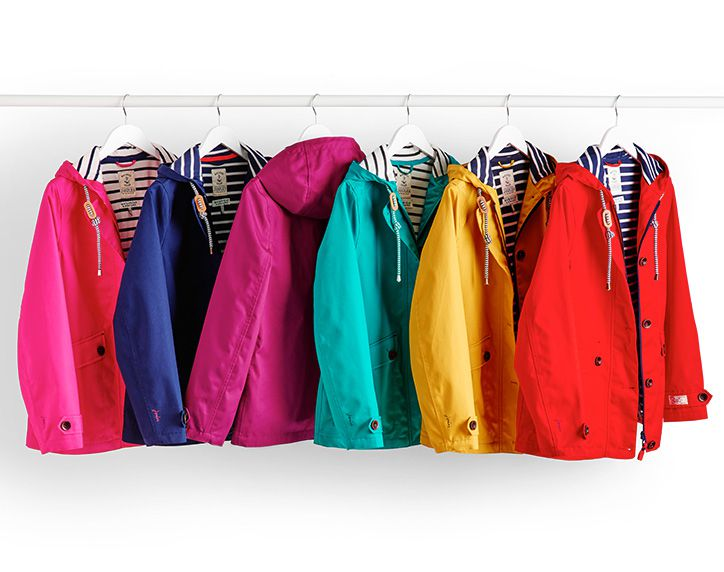 joules colourful collection of waterproof coast jackets