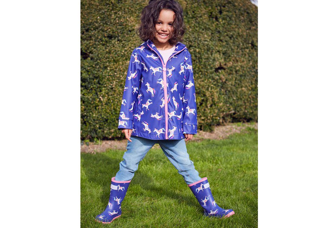 girls waterproof jacket and printed wellies