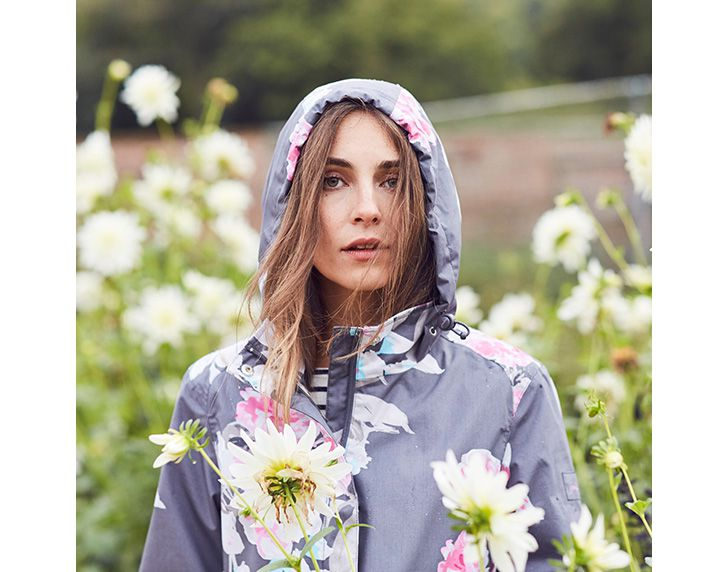 joules floral haven printed waterproof jacket