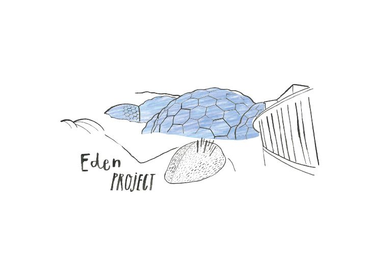 Illustration of the Eden Project in Cornwall