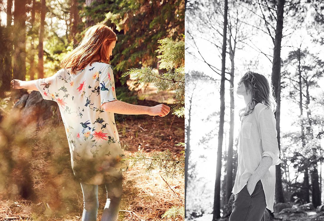 woman modelling joules khaki coloured collection in forest scene