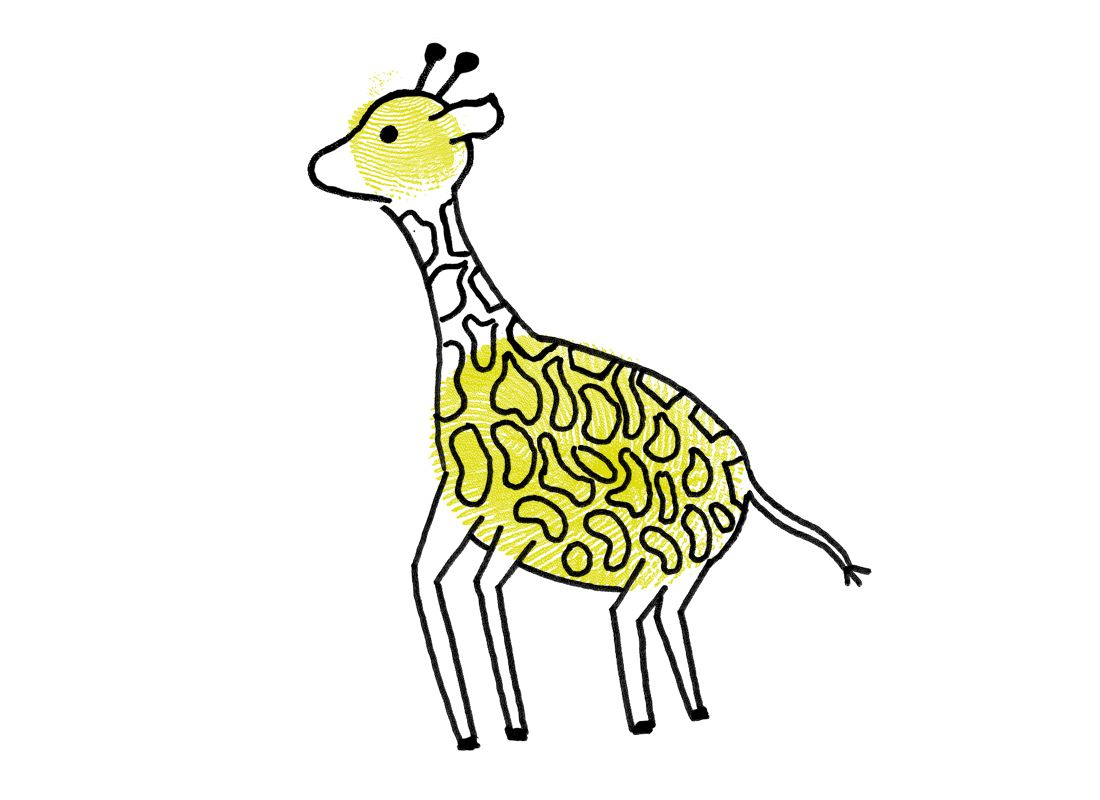 illustration and finger painting of a giraffe