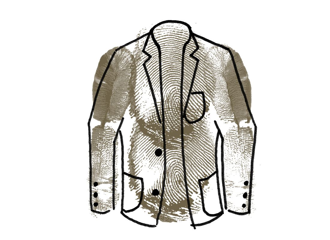 illustration and finger painting of a tweed blazer