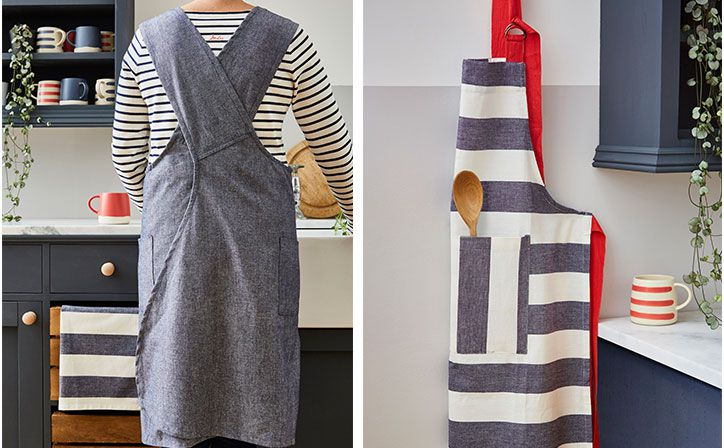 100% cotton wrap-around work apron that's good looking enough to look for excuses to get messy in the kitchen.