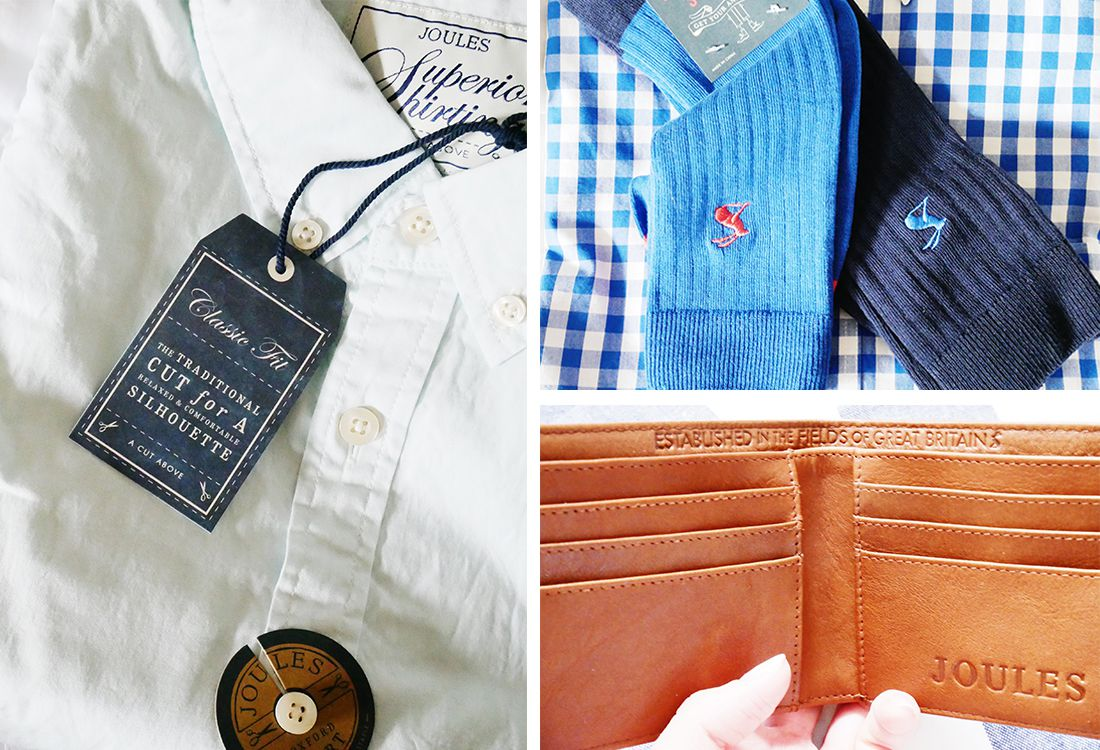 father's day gift ideas including shirts, socks and a leather tan wallet
