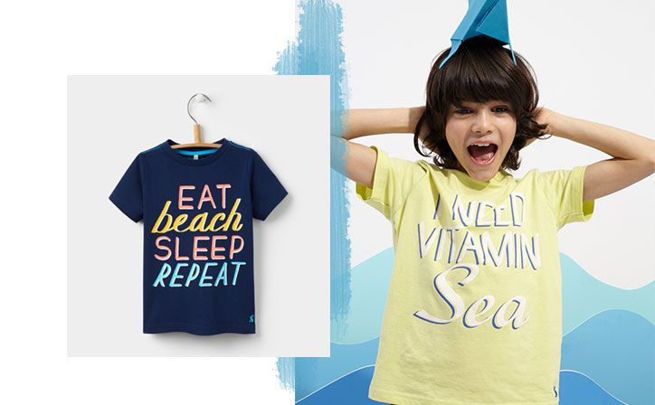 joules boys slogan tshirt for the summer