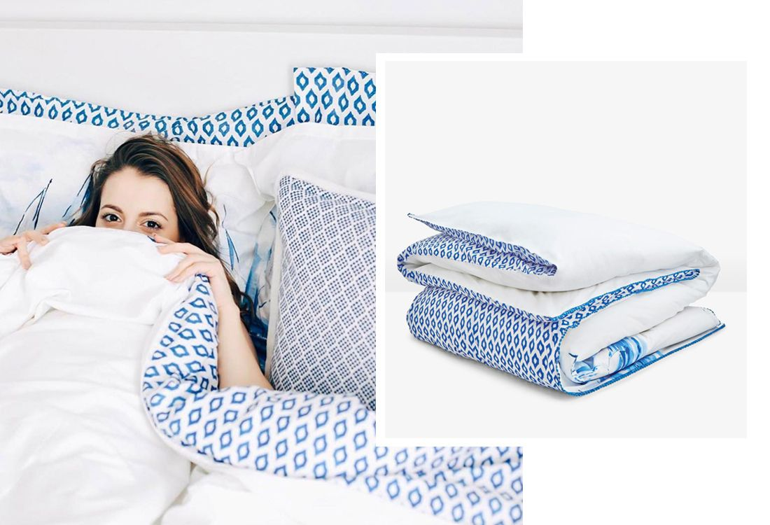 Blogger launeden cuddles up into Joules Sail boat bedding collection