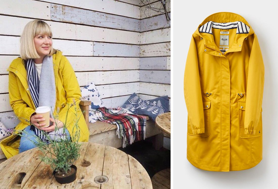 Mummy blogger models Joules coastline yellow waterproof coat