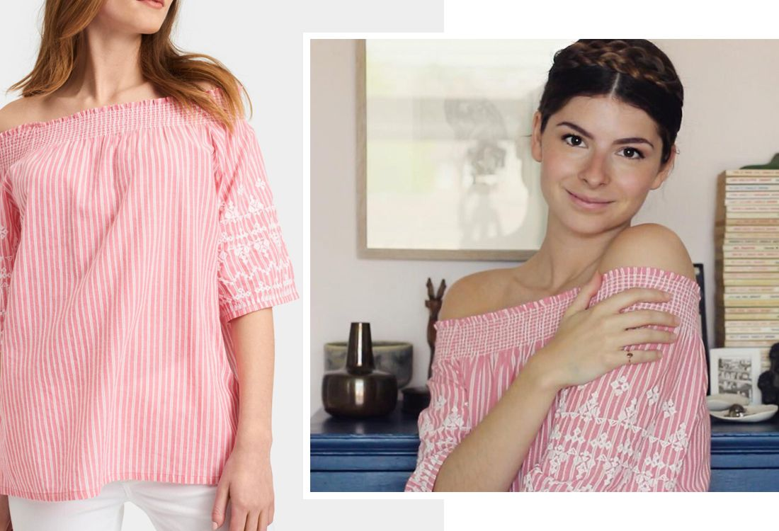 We love this image of our new off-the-shoulder Margot top as worn by Nancy Straughan of blog Hello Nancy.