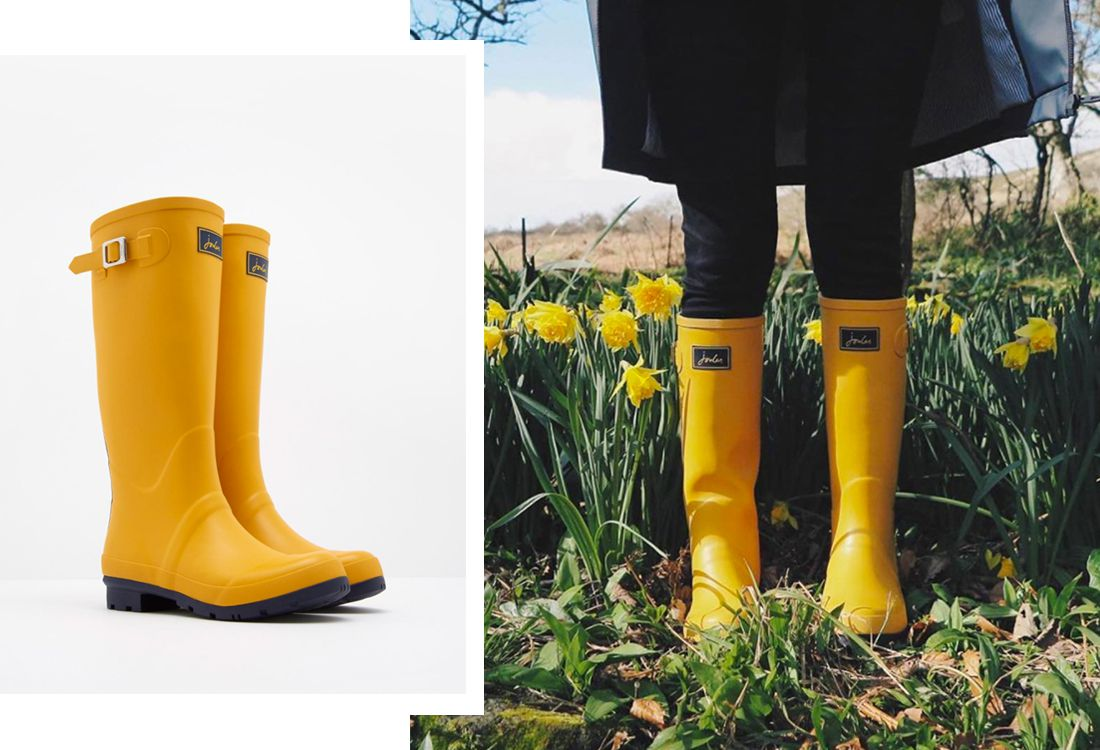 blogger fern elizabeth wears Joules matte yellow wellies