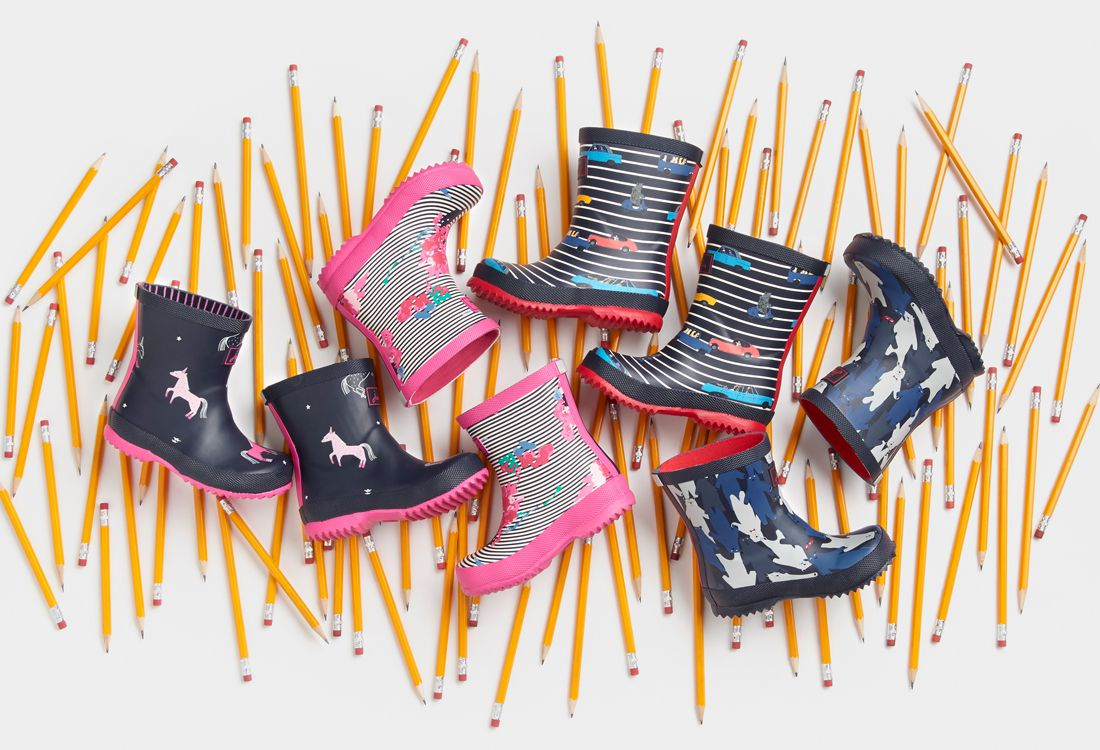joules back to school welly collection for rainy days