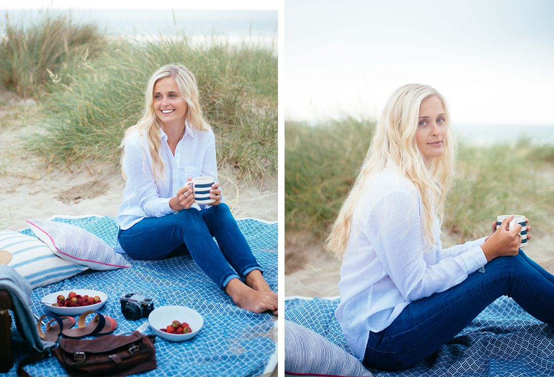 Joules lucie white tailored shirt with denim jeans is the perfect picnic look