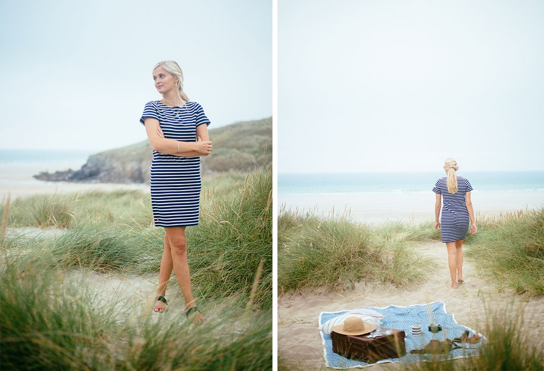 joules striped riveria jersey dress wutg suede sandals for a summer picnic