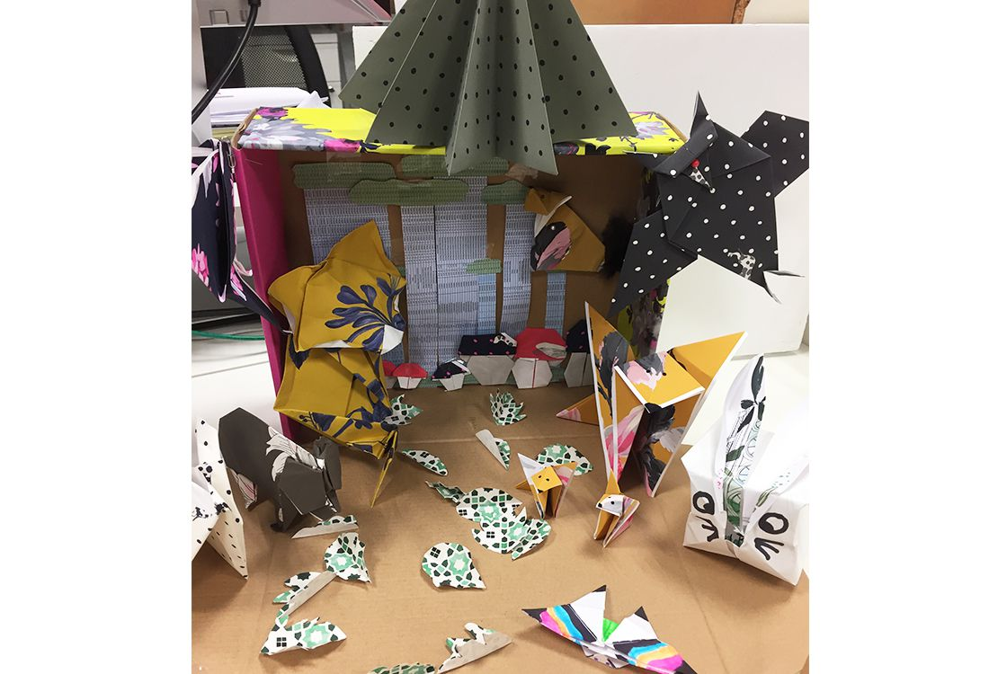 our accessories team have made an origami recycled woodland scene
