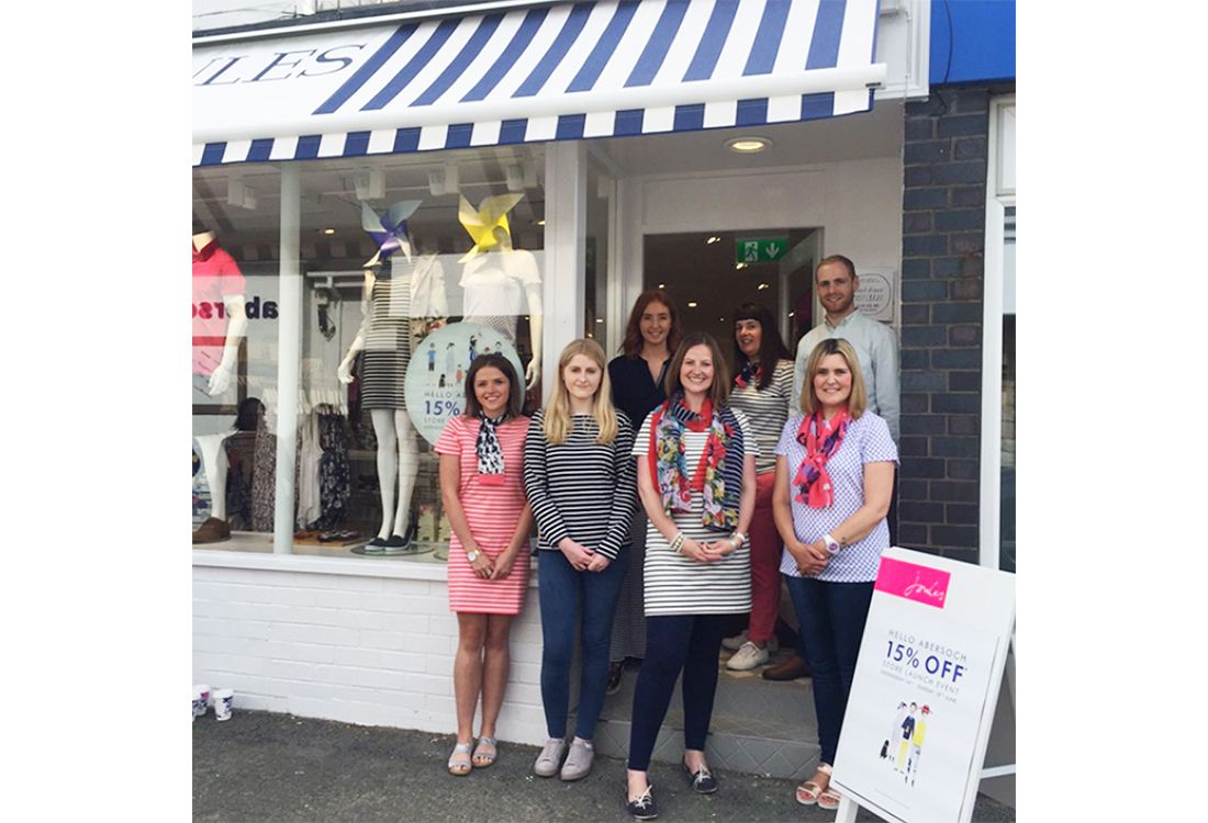 the joules of abersoch stand outside their coastal joules store