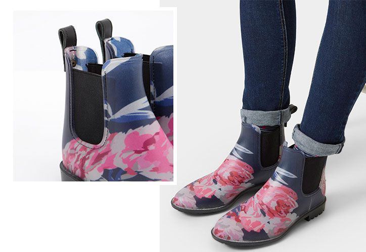 joules floral rubber chelsea boots for summer festivals