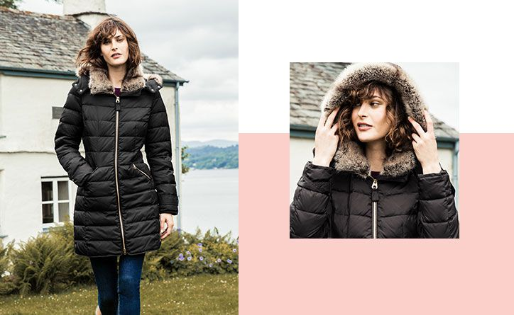 We've lined the high collar padded jacket with faux fur and the hood too, both are detachable to help you create different looks to take you through the season.
