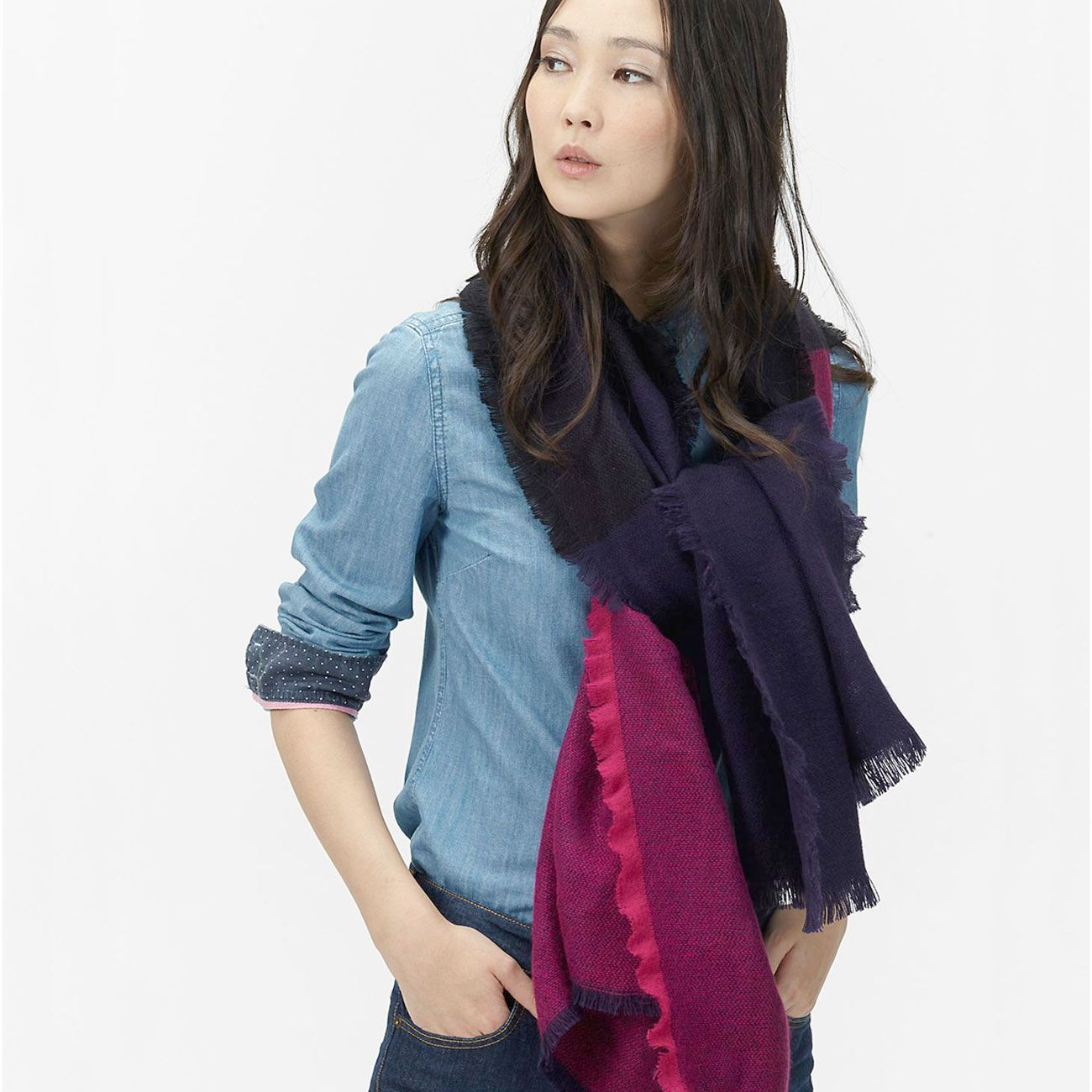 f2522d586fe71 How to Wear the Low Knot Scarf. Hang your scarf over your shoulders ...