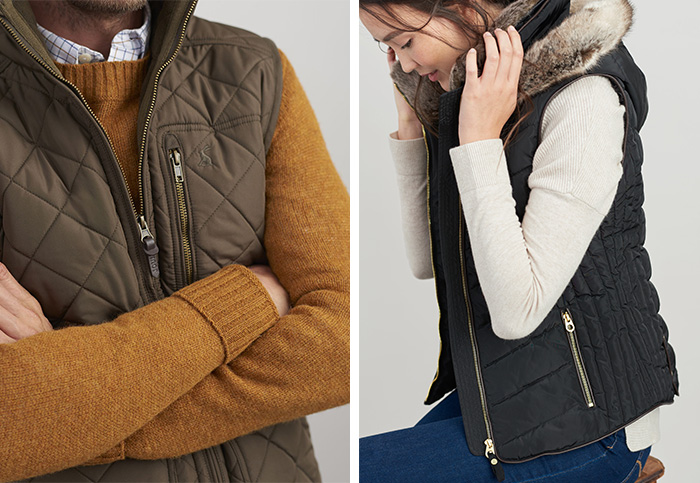 Close ups of Joules men's and women's gilets