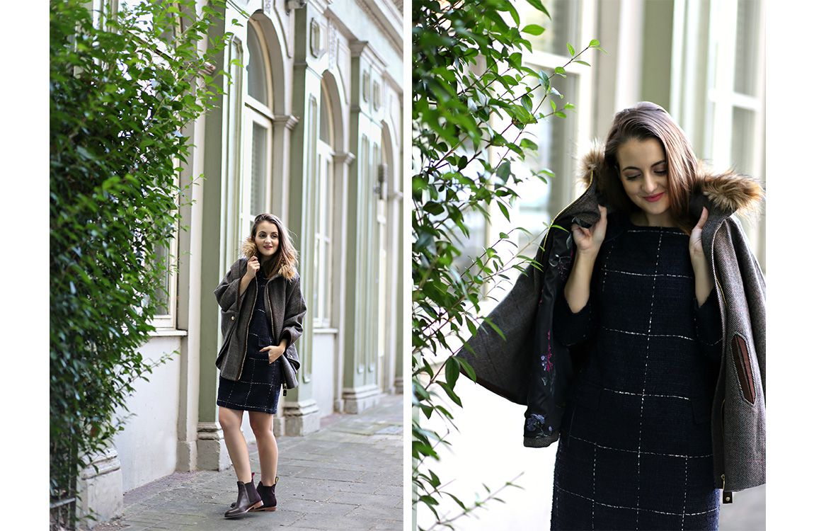 blogger modelling joules tweed cape styled with a dress