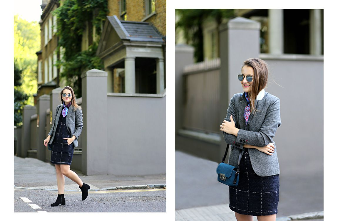 blogger models joules tweed blazer and dress