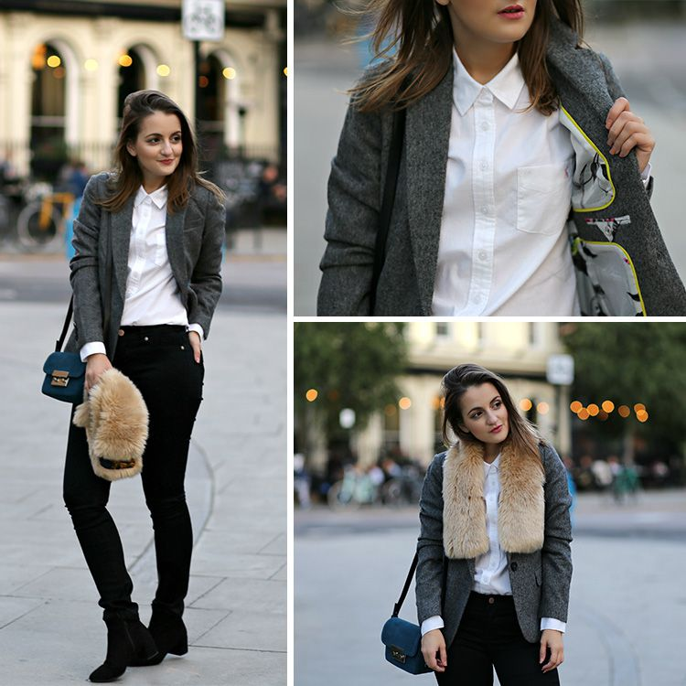 blogger models black jeans with white shirt and blazer