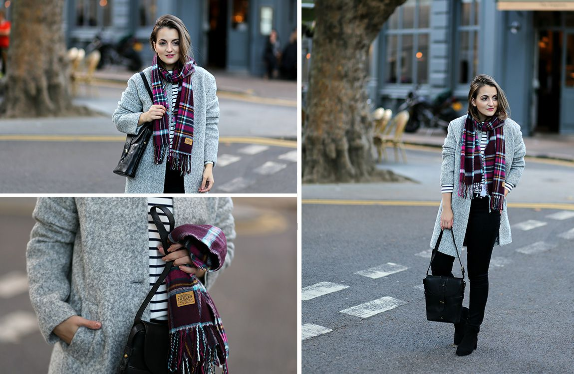 blogger modelling wool grey coat with scarf and leather bag