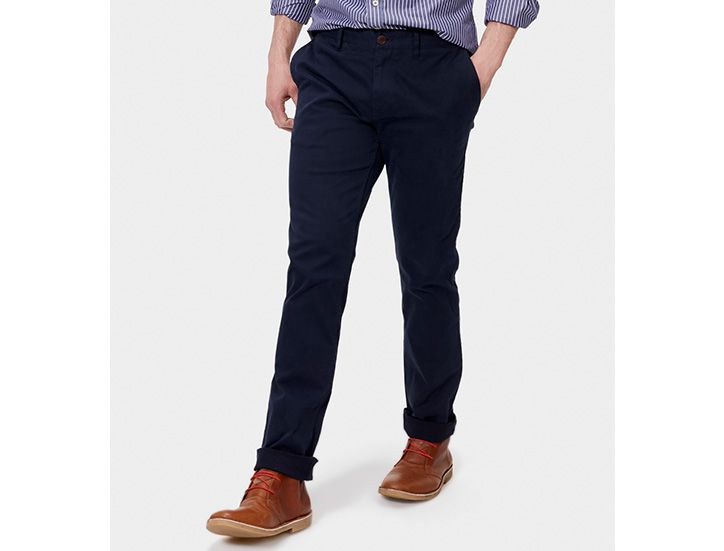 man modeling Joules navy chinos