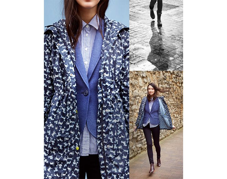 collage of models wearing a joules waterproof coat