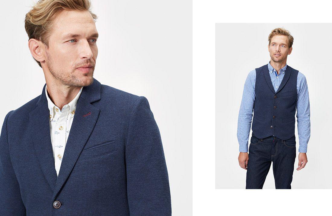 male model wearing joules shirt blazer and waistcoat