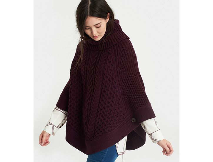 Woman modelling wool poncho