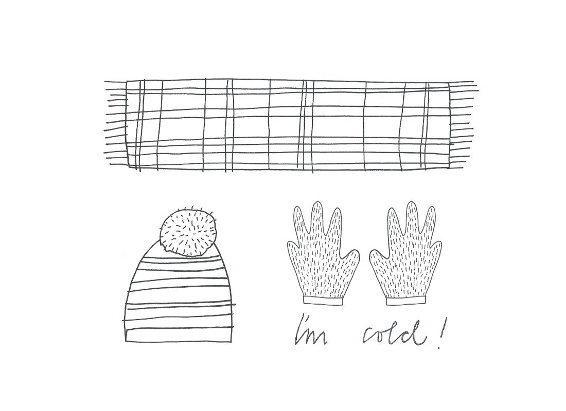 illustrations of a scarf, hat and gloves