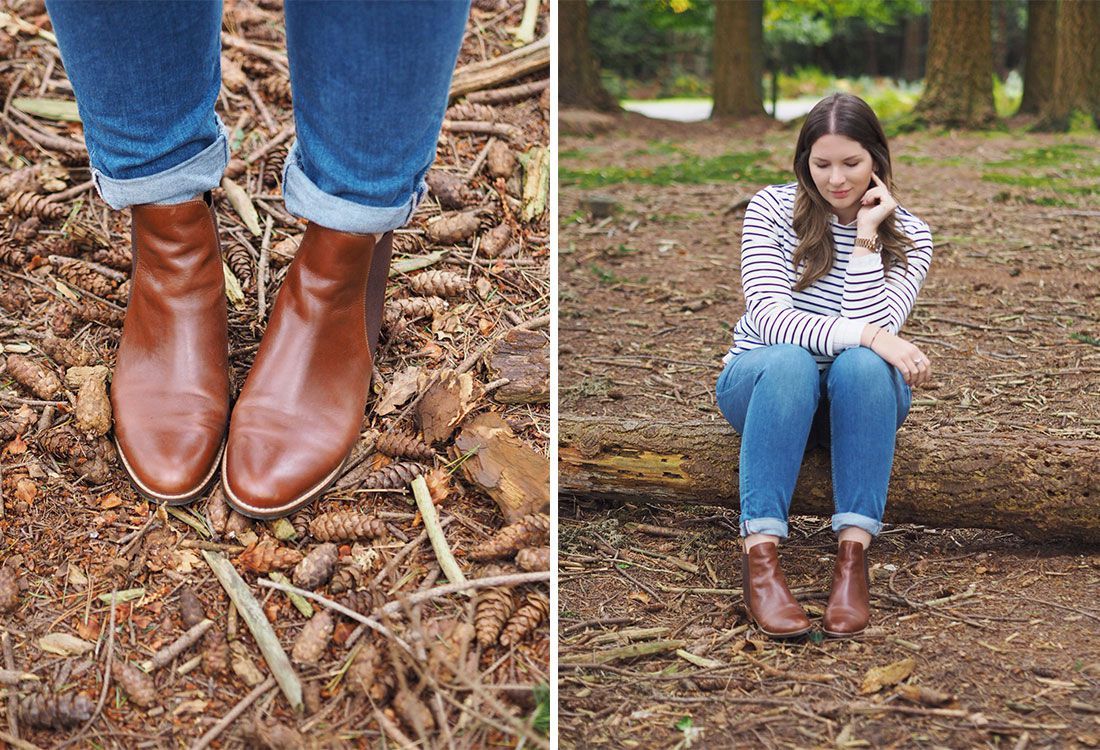blogger wears brown chelsea boots sitting on a log