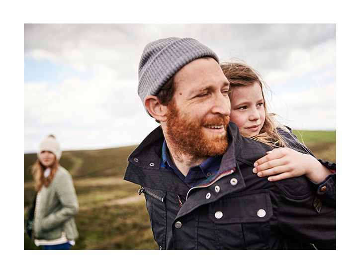family wearing joules autumn collection in the countryside