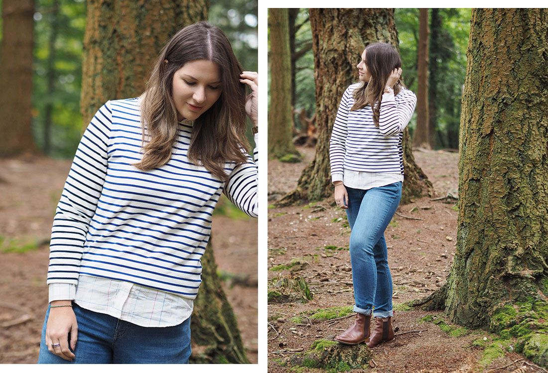 blogger models joules harbour top in forest scene