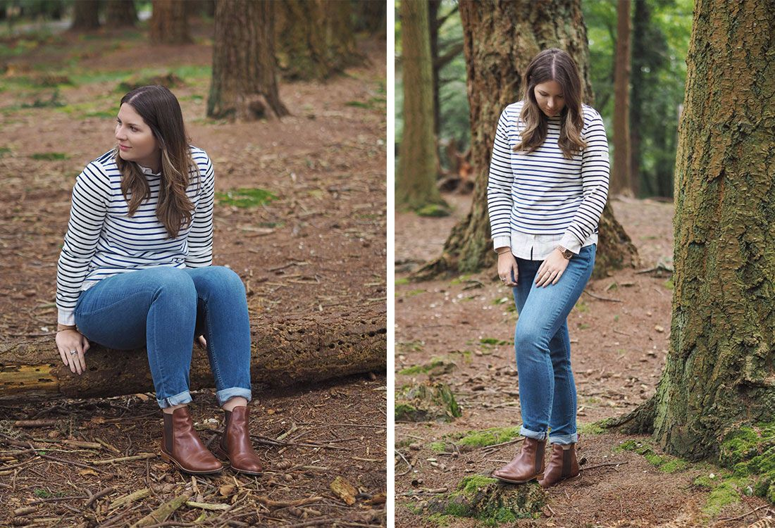 blogger wears autumn layers in forest scene