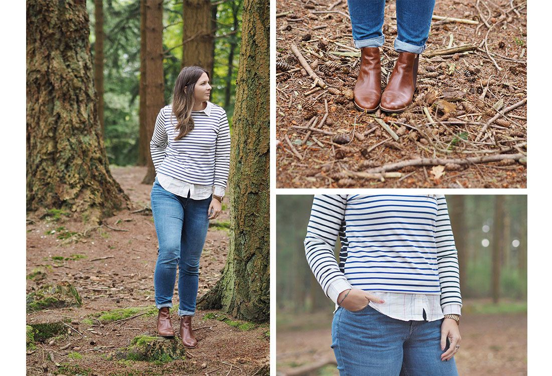 blogger wear autumn layers in a forest scene