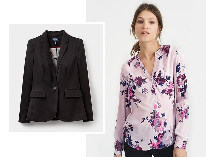 Woman modelling floral blouse paired with tailored blazer
