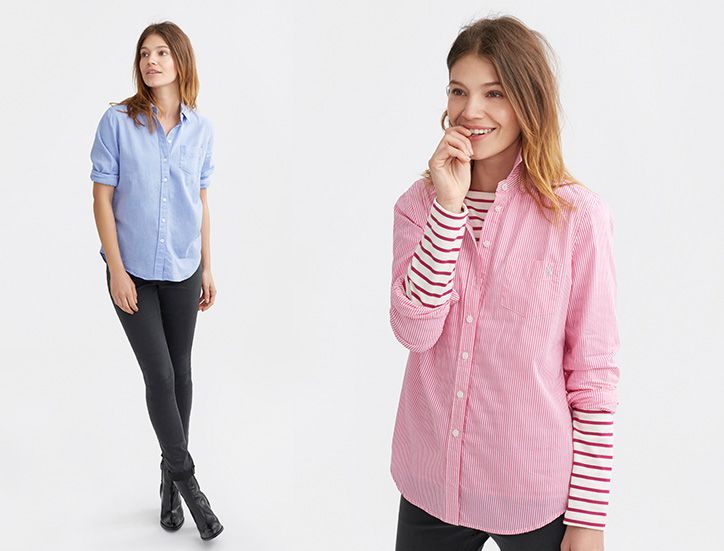 woman modelling shirt with denim jeans