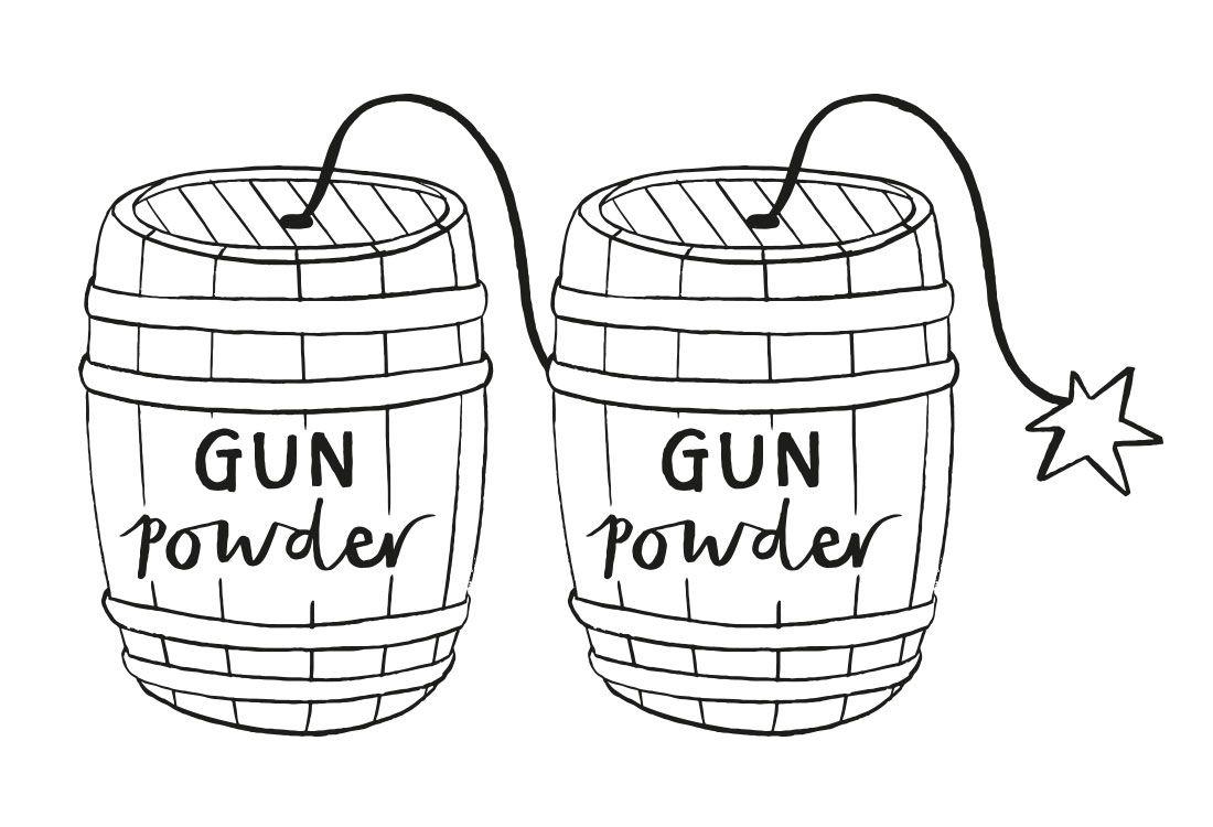 illustration of gun powder barrels