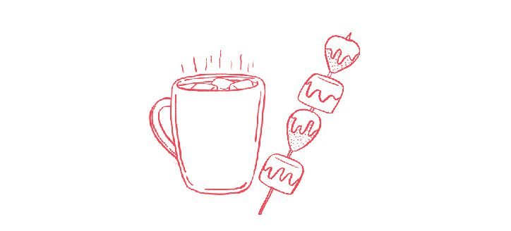 illustration of festive hot drinks and marshmallows